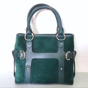Salvatore Ferragamo Hunter Green Suede Handbag